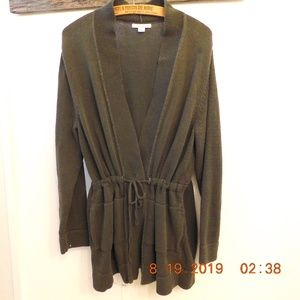 Coldwater Creek Drawstring Waist Olive Sweater